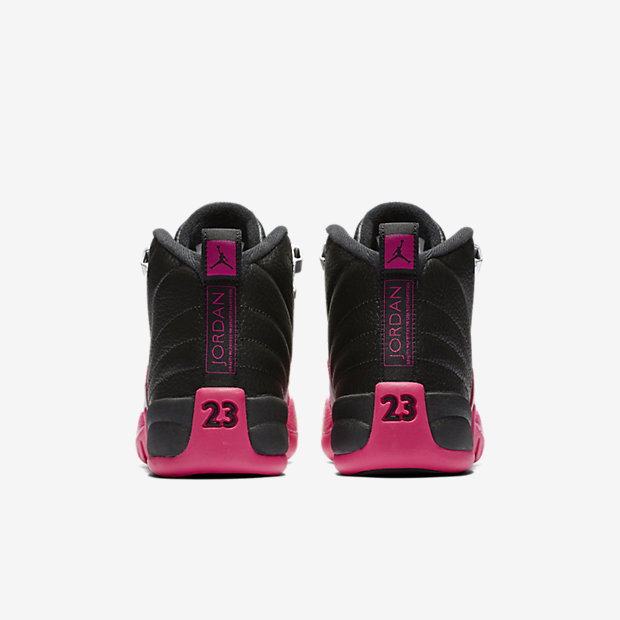 GIRLS AIR JORDAN 12 RETRO BLACK/DEADLY PINK